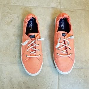 Sperry Memory Foam Slip Ons Coral Pink